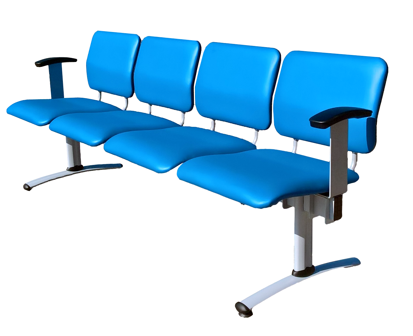 Waiting room 4-seat beam seating upholstered in blue vinyl with end arms