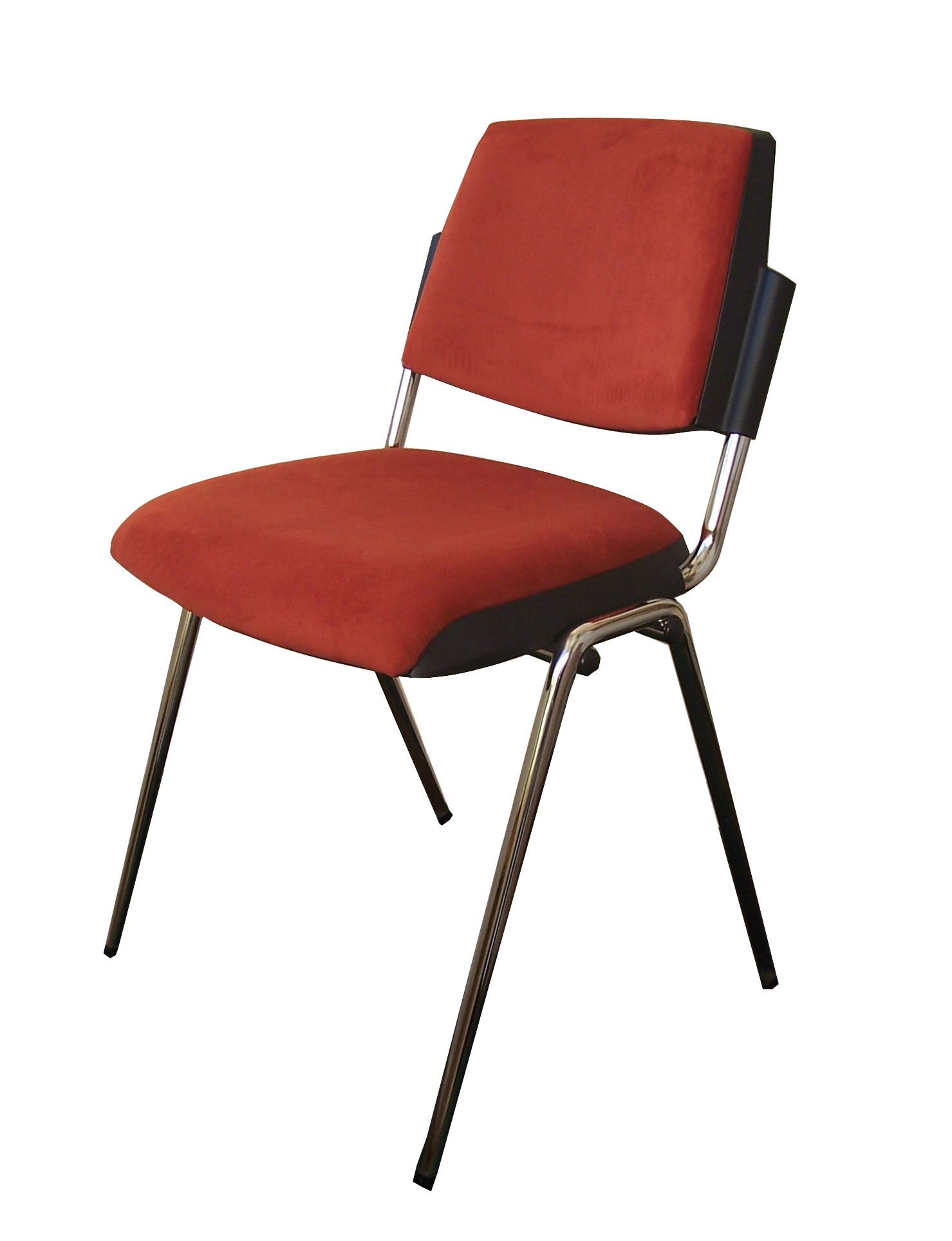 Stackable waiting room chair with silver metal frame and red upholstery