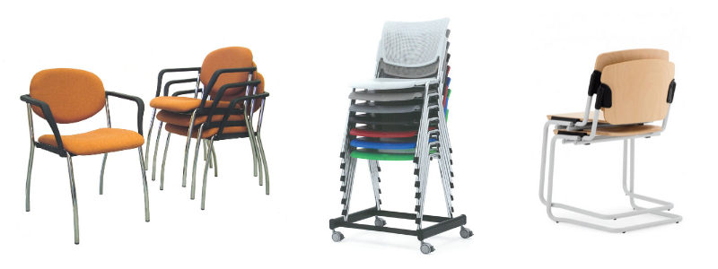 Selection of waiting room stacking chairs shown stacked