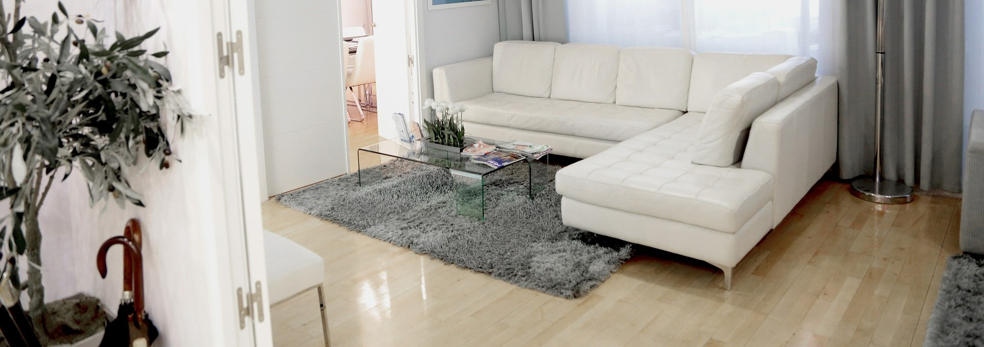 Beauty salon waiting room with white leather sofa
