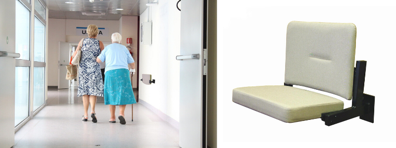 Hospital corridor with wall mounted seat and close up of wall mounted chair