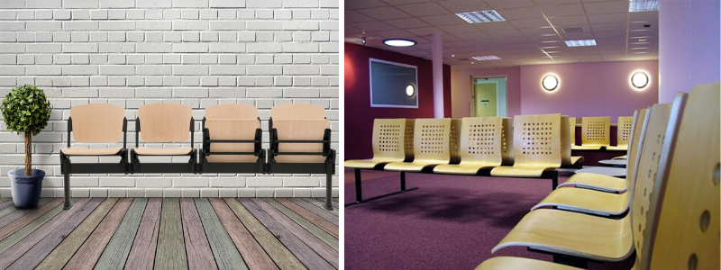 Wooden public area seating and wooden waiting room beam seating in a health centre
