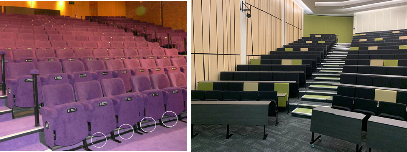 Auditorium seating with removable banks of seating on front row and lecture theatre with portable front row desks