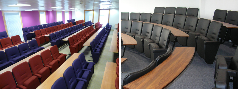 Lecture theatre with seats with rows of fixed desks and a conference room with curved rows of seating with fixed desks