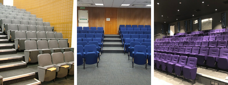 3 different lecture rooms with conference seating with individual flip-up writing tablets