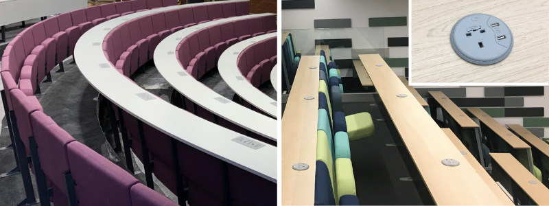 2 different lecture theatre seating installations with plug sockets with USB ports in desks