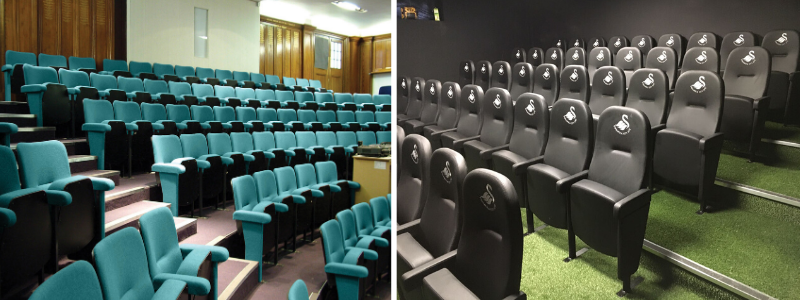 Fixed conference seating in a lecture theatre and football training facility