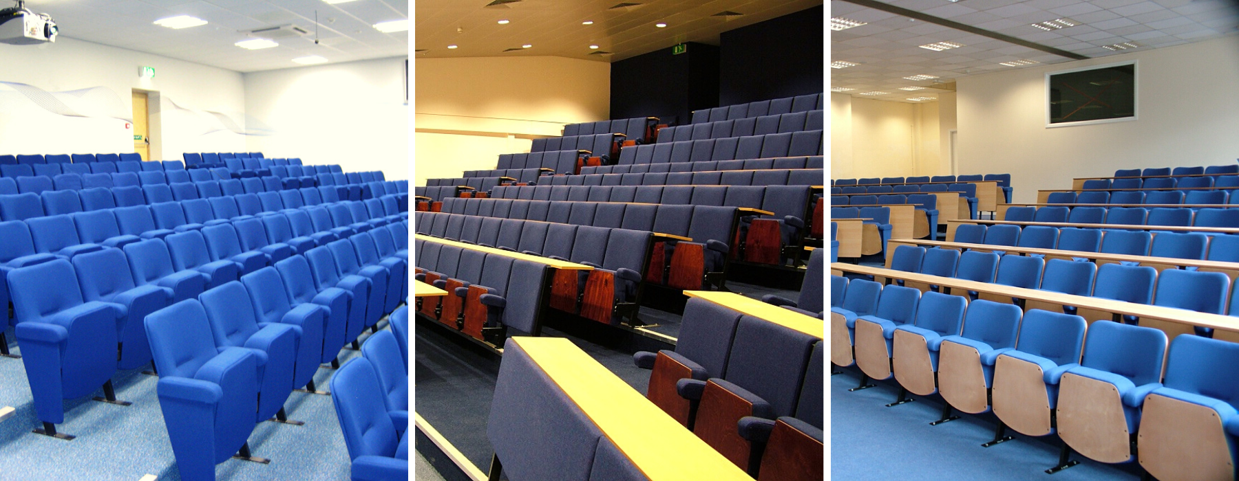Range of Evertaut lecture theatre seating in university lecture theatres upholstered in blue fabrics