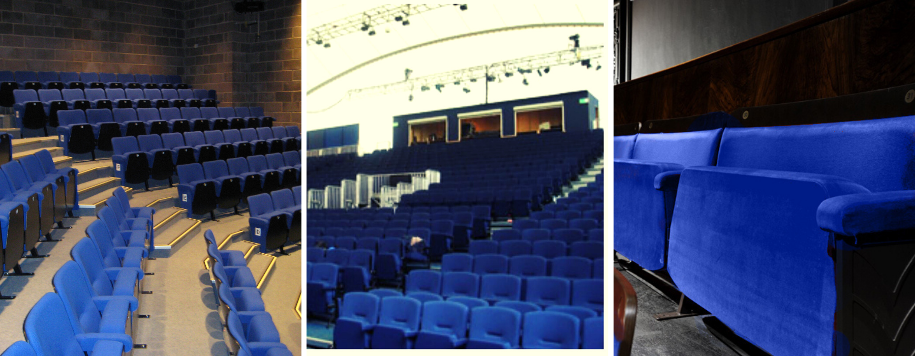3 different theatres with seating upholstered in blue fabrics