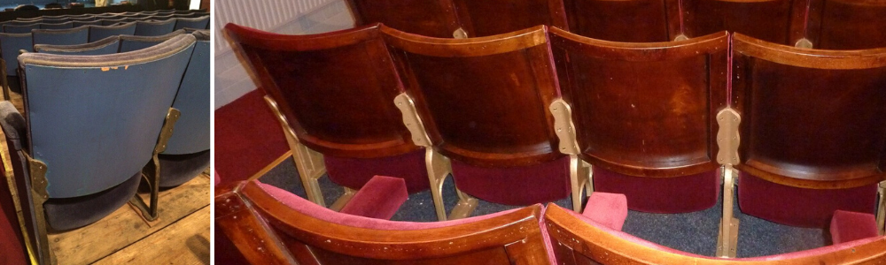 Back of row of auditorium seating after refurbishment and one seat shown before