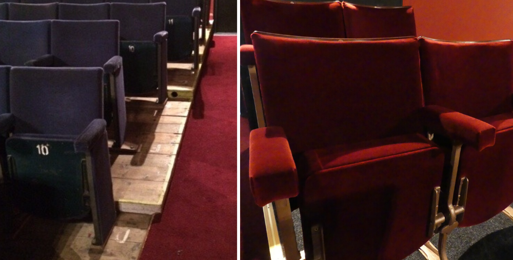 Theatre auditorium before and after seating refurbishment
