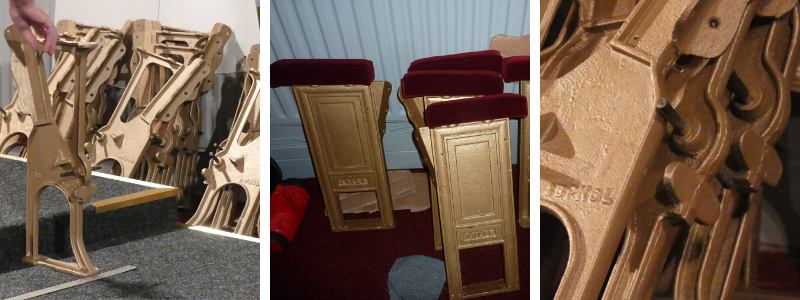 Refurbished seat frames at The John Peel Theatre being refitted