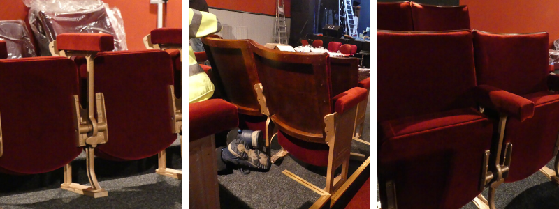 Close up of refurbished seats backs and arms during refitting at The John Peel Theatre