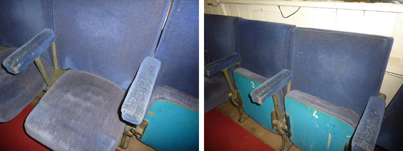 Close up of 2 seats at The John Peel Theatre before refurbishment
