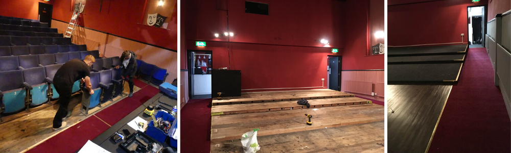 Auditorium at The John Peel Theatre during stages of refurbishment