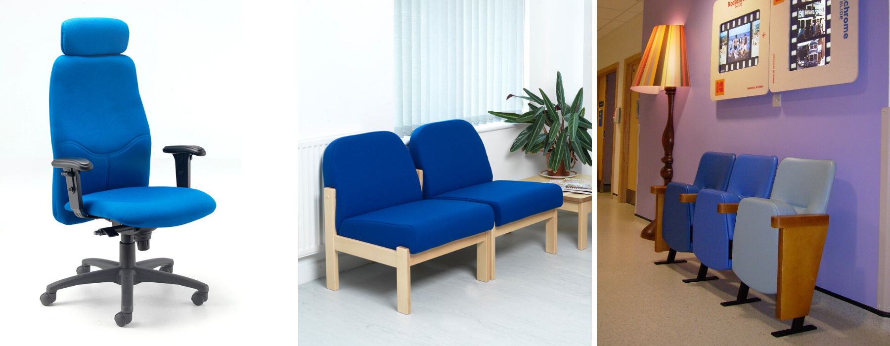 Office chair and waiting room chairs upholstered in blue fabrics and vinyl