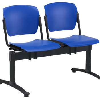 2-seat Sentinel beam with blue FR plastic seats and black frame