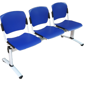 3-seat Sentinel Beam in blue FR plastic with fixed seats and silver frame