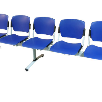 5-seat Sentinel Beam with blue FR plastic fixed seats and silver frame
