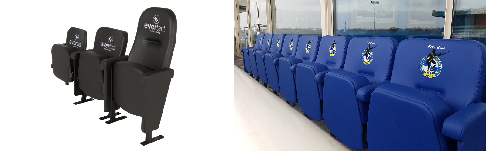 Embroidered club branding on Evertaut's range of premium stadium seating alongside an installation at Bristol Rovers FC with club branding on seat backs