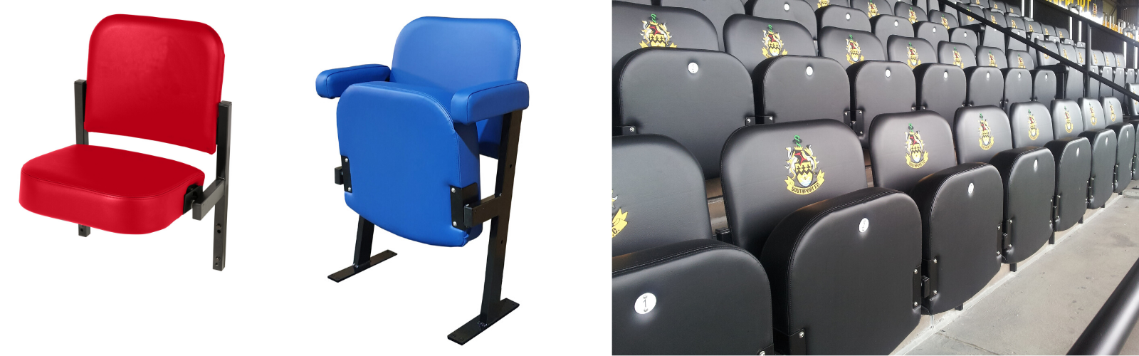 Riser mounted and floor fixed versions of Evertaut's Club premium stadium seating and an installation at Southport FC