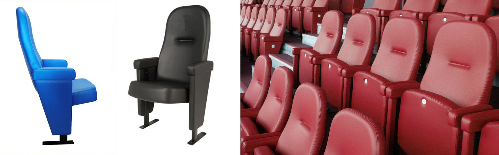 Evertaut's Olympian premium stadium seating shown upholstered in blue and black vinyl alongside an installation in a stadium upholstered in red