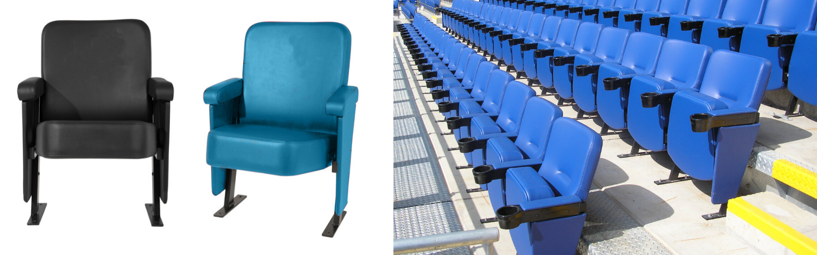 Evertaut's VIP premium stadium seating shown in black and turquoise alongside an installation in a stadium upholstered in blue vinyl with cup holders