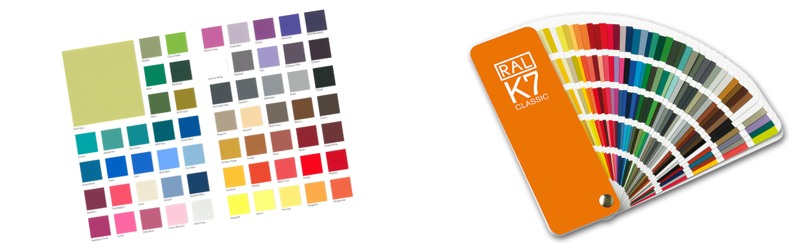 Swatch card showing vinyl colours for premium stadium seating and a RAL swatch card showing the vast range of colours available for colour matching