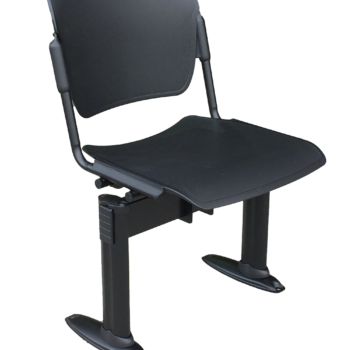 Sentinel Beam single seat in black FR plastic with black frame and fixed seat