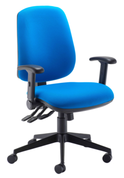 Heavy duty high back operator chair with multi function arms