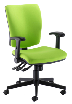Mid back operator chair with multi function arms
