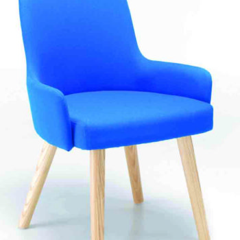 Hadley break-out chair upholstered in bright blue fabric