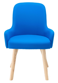 Hadley break-out chair with wooden legs and blue fabric upholstery