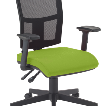 Mesh back operator chair with green seat and height adjustable arms