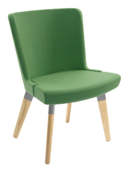 Skapa side chair with wooden legs upholstered in green fabric