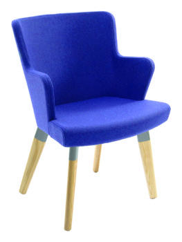 Skapa Armchair with wooden legs upholstered in blue fabric