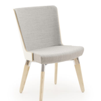 Skapa side chair with wooden outer panel front view