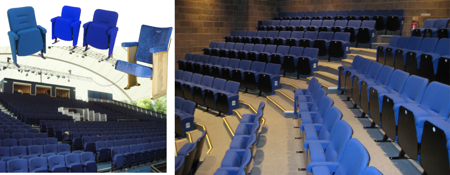 Blue fabric colour for fixed seating shown on individual theatre seats and in theatre auditoria