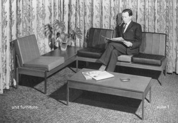 Page from Evertaut 1960s brochure with man sat in waiting room on Evertaut seating