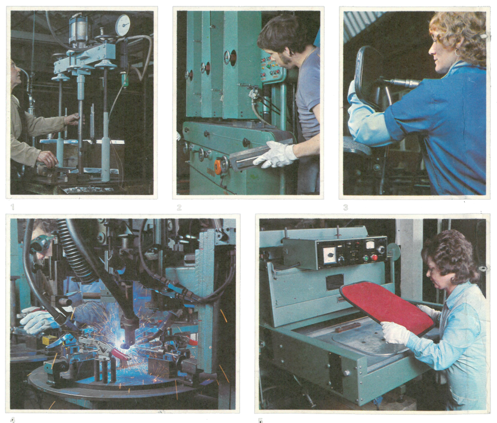 Group of images of Evertaut factory workers manufacturing seating