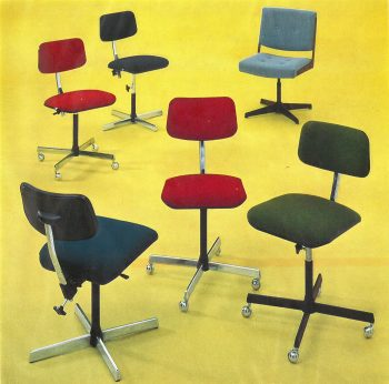 Range of Evertaut typist chairs from 1970s and early 80s