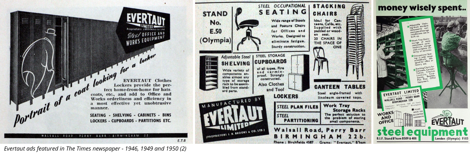 Selection of vintage Evertaut advertising from The Times newspaper in 1940s
