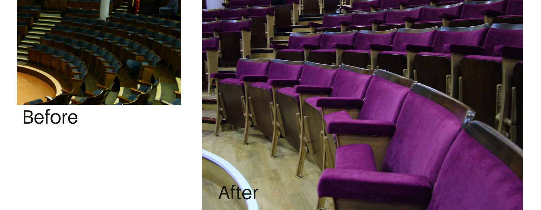 Before and after images of traditional fixed seating in a theatre auditorium following reupholstery in purple velvet fabric
