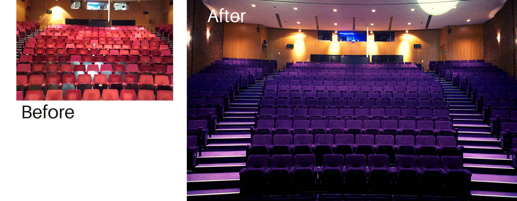 Before and after images of a theatre auditorium showing old red seats and then installation of new purple fabric colour for fixed seating