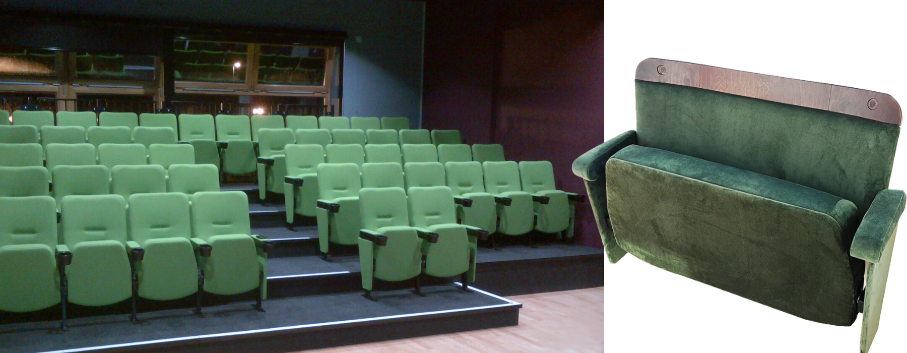 Green fabric colour for fixed seating shown in a small cinema auditorium and on an individual love seat