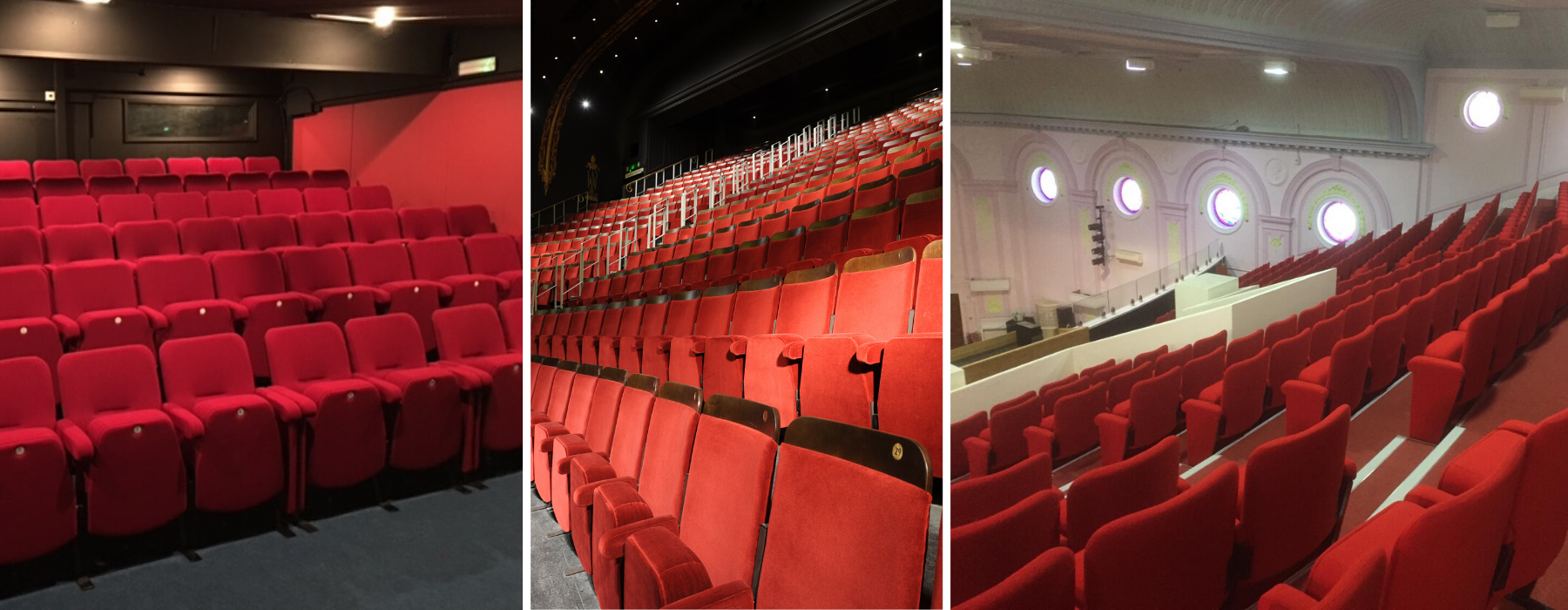 Red fabric colour for fixed seating shown in 3 different theatre auditoria settings