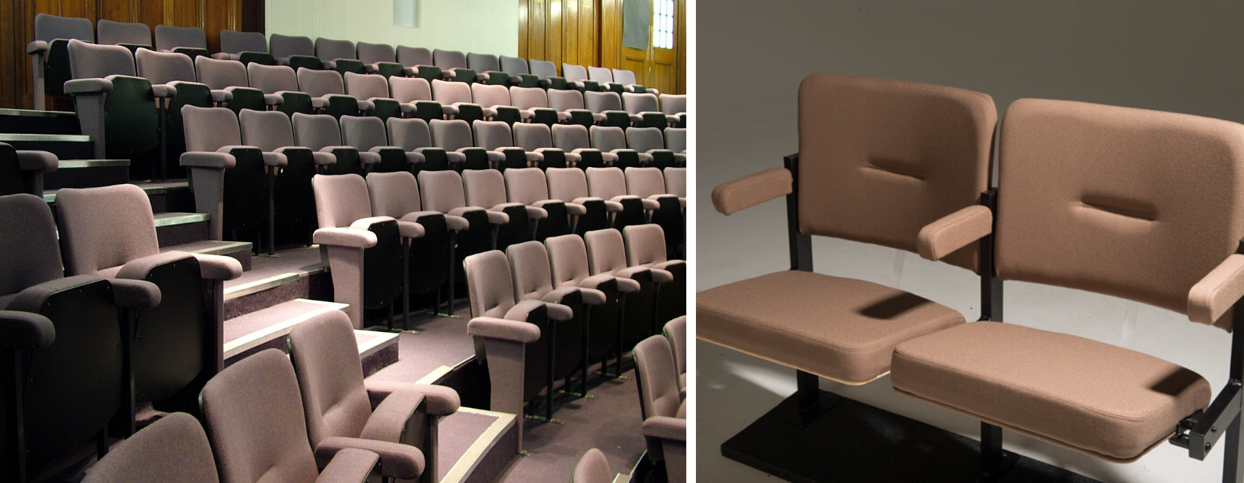 stone fabric colour for fixed seating shown on theatre seats in an auditorium and on a pair of seats
