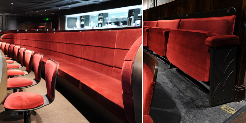 Seating in stalls and circle area of theatre shown following renovation and refurbishment