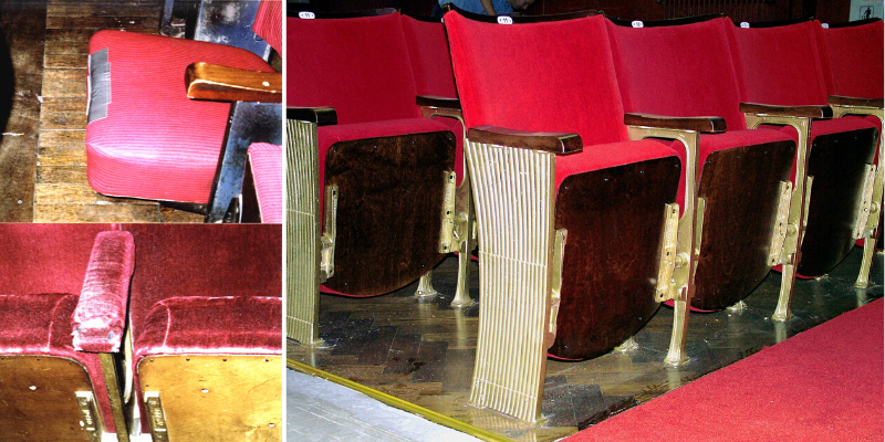 Close up of worn arms and seats on old auditorium seating and view of rows of seating following refurbishment