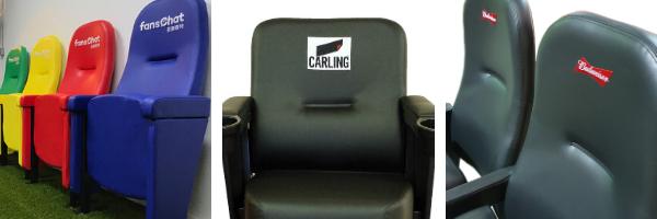 Range of branded upholstered stadium seating used in non-stadium settings